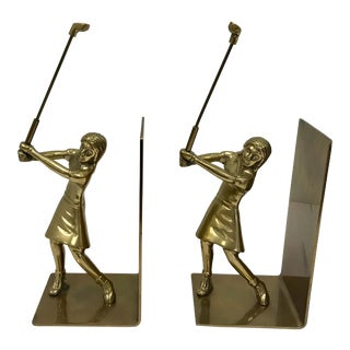 Brass Ladies Golfer Bookends - a Pair For Sale