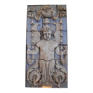 Neoclassical Polychrome Terra Cotta Angel Panel For Sale