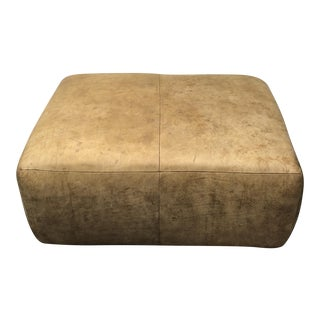Distressed Leather Ottoman