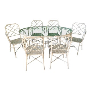 Brown Jordan Calcutta Metal Faux Bamboo Dining Table and Chairs For Sale
