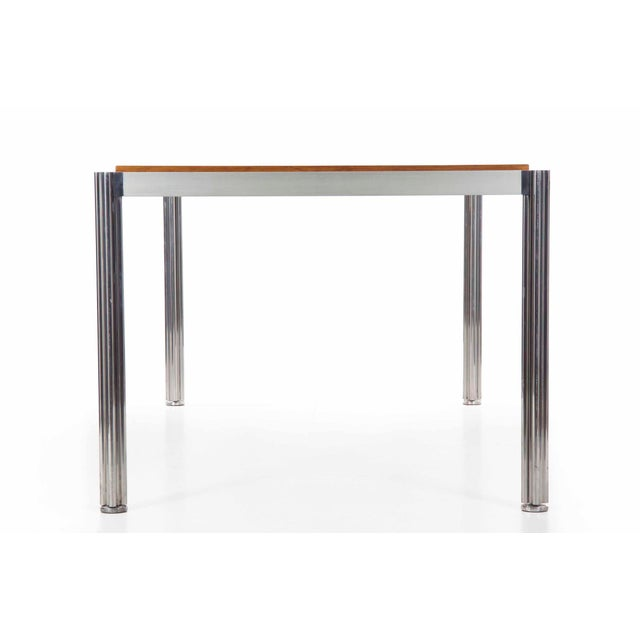 Danish Modern Rare Circa 1960s Jens Risom Oak and Aluminum Dining Table with Shamrock Legs For Sale - Image 3 of 13