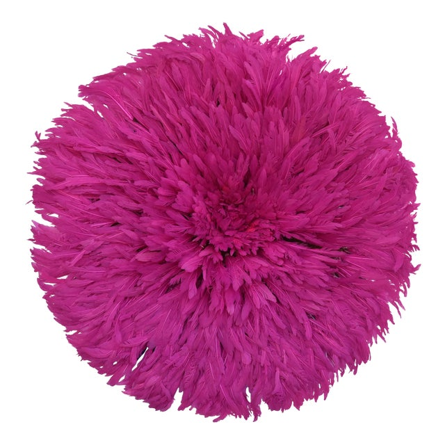 """Large 30"""" Pink African Feather Juju Hat Wall Hanging For Sale"""