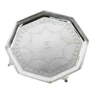 English Silver Plate Octagonal Footed Tray For Sale