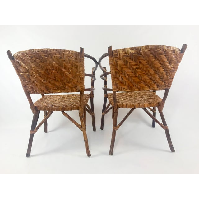 Vintage Barrel Backed Hickory Hoop Arm Chairs - A Pair For Sale - Image 4 of 11