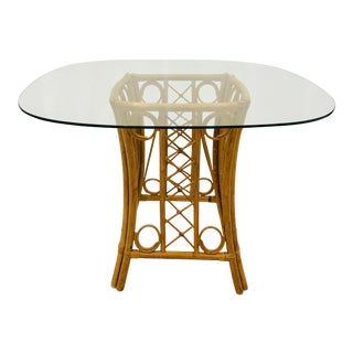 Vintage Boho Chic Bent Rattan & Bamboo Table For Sale