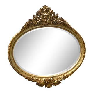 French Provincial Rococo Style Ornately Carved Gold Oval Wall Mantle Mirror For Sale