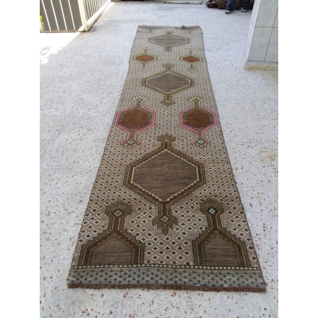 Antique Pink & Brown Caucasian Long Runner - 2′9″ × 12′1″ For Sale - Image 4 of 4