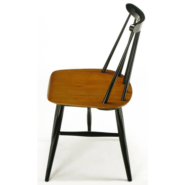 1950s Six Ilmari Tapiovaara Teak and Black Lacquer Dining Chairs For Sale - Image 5 of 9