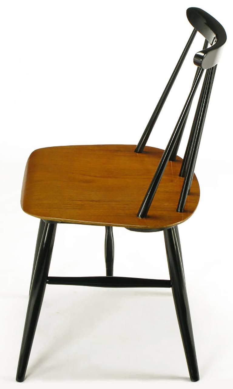 1950s Six Ilmari Tapiovaara Teak And Black Lacquer Dining Chairs For Sale    Image 5 Of