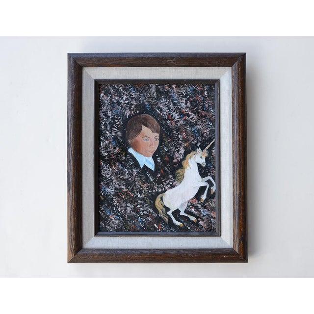Black Vintage 1984 Retro Boy & Unicorn Painting For Sale - Image 8 of 8