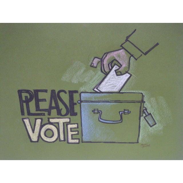 "Vintage ""Please Vote"" Pittsburgh Post Gazette Sketch - Image 3 of 3"