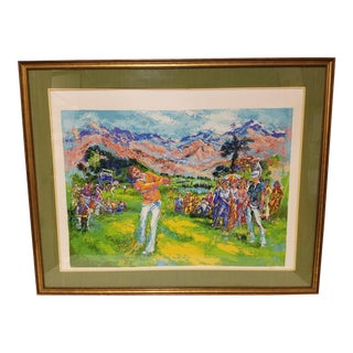 Mid-Century Modern Palm Beach Golf Serigraph by Mark King, Oversized For Sale