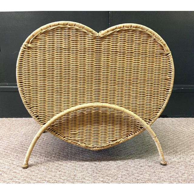 Vintage Rattan Heart Shaped Storage Laundry Hamper For Sale - Image 11 of 11