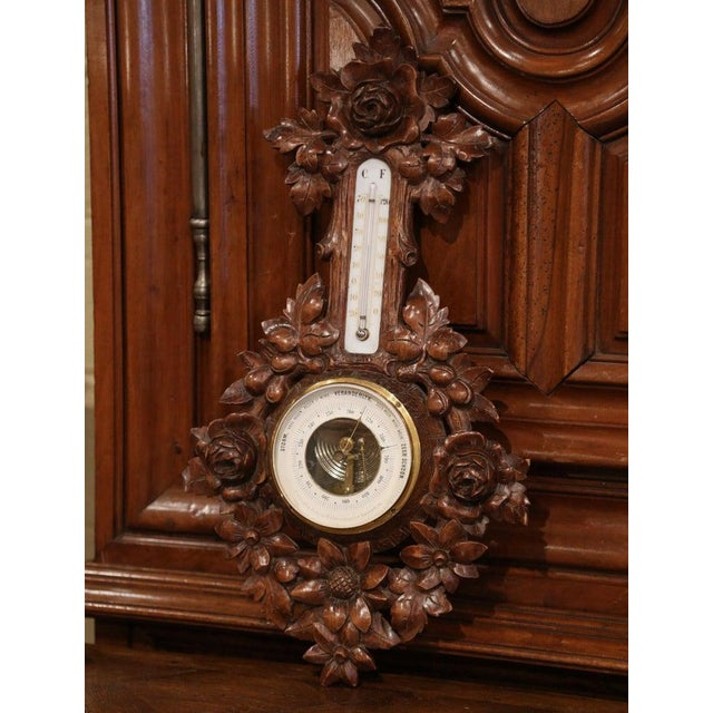 Black Forest 19th Century French Black Forest Carved Walnut Barometer For Sale - Image 3 of 9