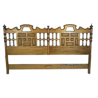 Vintage Gold Painted Mediterranean Spanish Style King Size Headboard For Sale