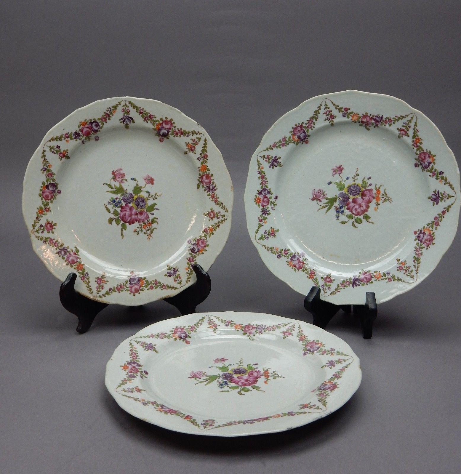 Antique Chinese Famille Rose Plates - Set of 3 - Image 10 of 11 & Antique Chinese Famille Rose Plates - Set of 3 | Chairish