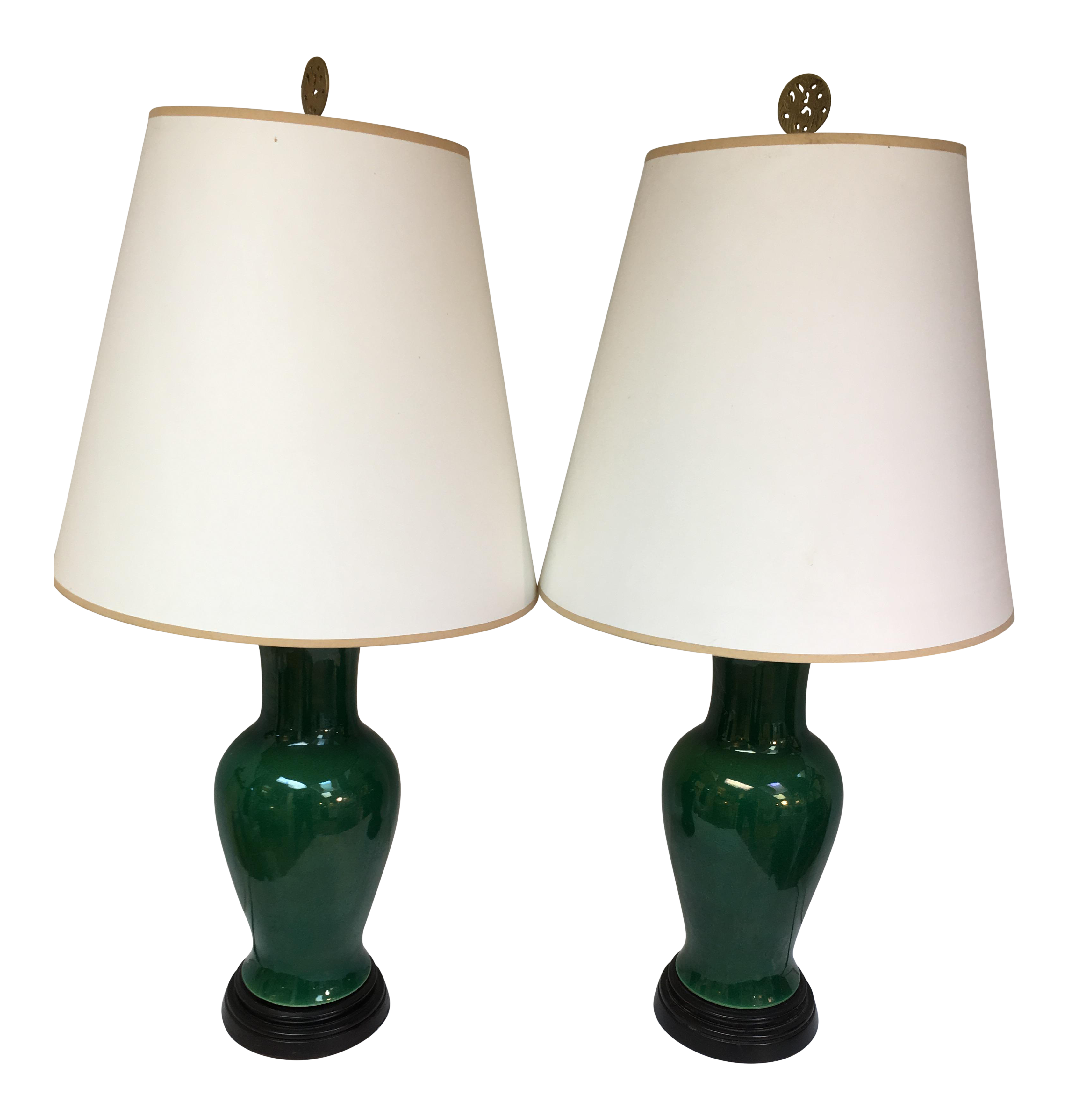 Wildwood Dark Green Crackle Glaze Porcelain Table Lamps  A Pair   Image 1  Of 11