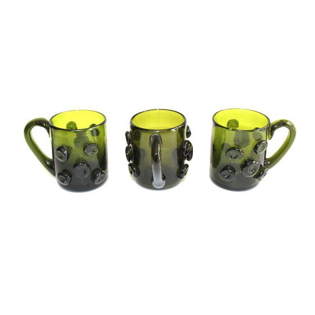 Set / 6 Mid Century Modern Glass Espresso Cups With Prunt Details For Sale - Image 10 of 13