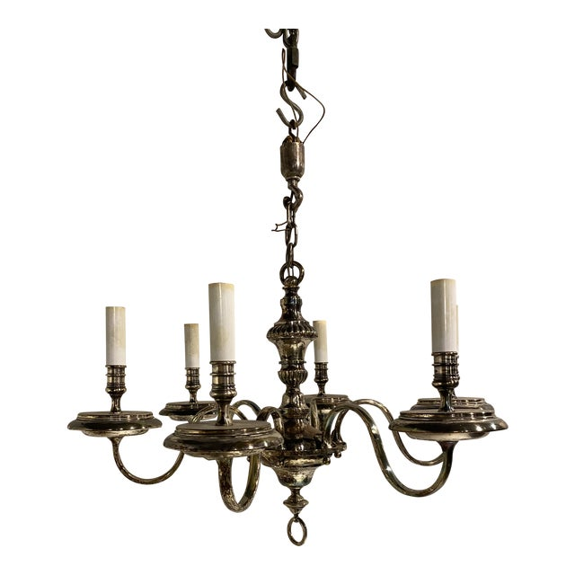 1920's Caldwell Six Light Silver Plated Chandelier For Sale