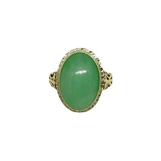 14k Gold and Jade Cabochon Ring For Sale