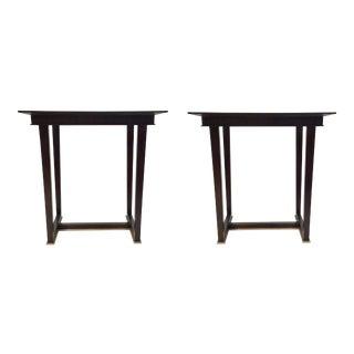 Paul Aubriot for Henredon Modern Dark Wood End Tables Pair For Sale