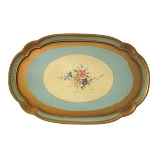 Italian Mid-Century Floral Tray For Sale