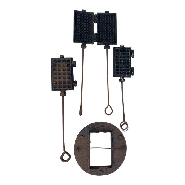 Antique Waffle Irons & Wood Burning Stove Lid - Set of 4 For Sale