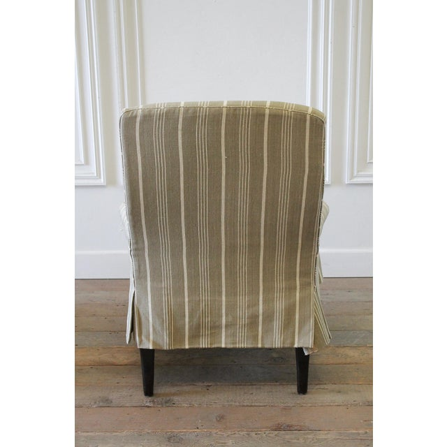 Napoleon Style Linen Stripe Slip Cover Chair and Ottoman For Sale - Image 10 of 12
