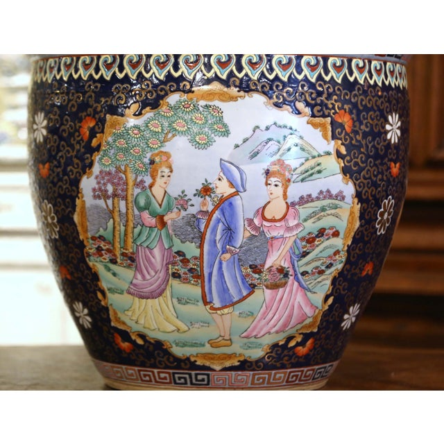 Midcentury Chinese Export Porcelain Fish Bowl With Oriental Decorations For Sale - Image 4 of 12