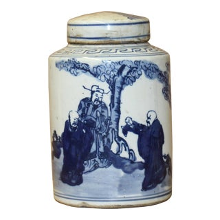 Chinese Blue White Ceramic Fok Lok Shou Graphic Container Urn Jar For Sale