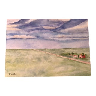 "Final Price! ""Country Road"" Original Watercolor Landscape Painting For Sale"