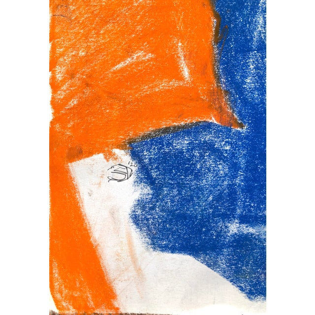 """Contemporary Figure Drawing in Blue and Orange Pastel, """"Seated Figure in Blue and Orange"""" by Artist David O. Smith For Sale - Image 10 of 11"""