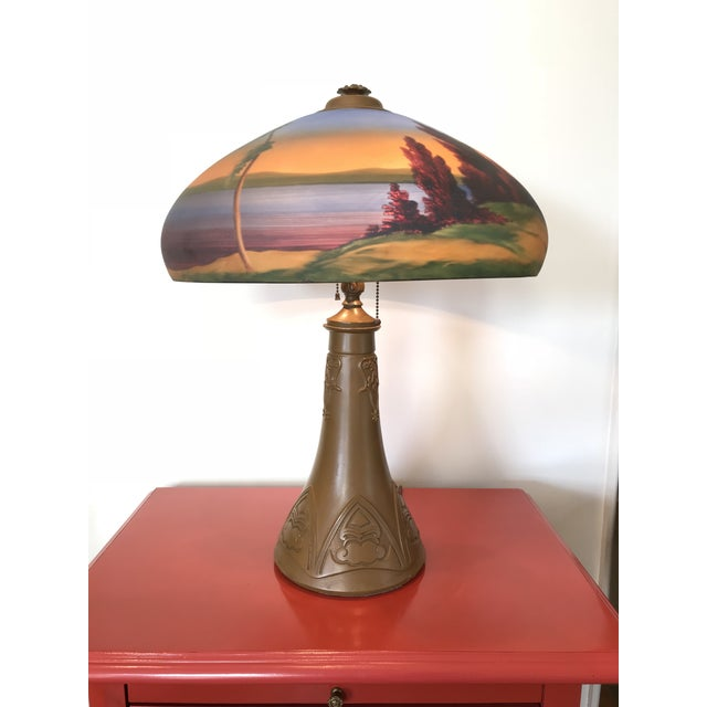 Arts & Crafts 1930s Mission Style Reverse Painted Glass Shade Lamp Lake George Adirondack Style For Sale - Image 6 of 6