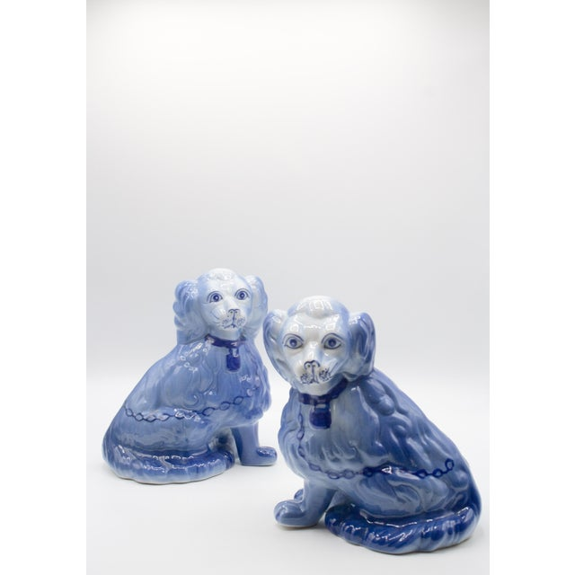Staffordshire Style Blue Spaniel Figurines - a Pair For Sale - Image 11 of 11