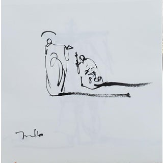 Contemporary Minimalist Figurative Religious Ink Drawing from the Saint Series by Jose Trujillo For Sale
