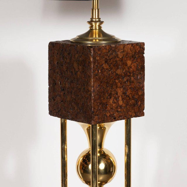 Pair of Sculptural Mid-Century Modern Polished Brass and Cork Table Lamps For Sale In New York - Image 6 of 8