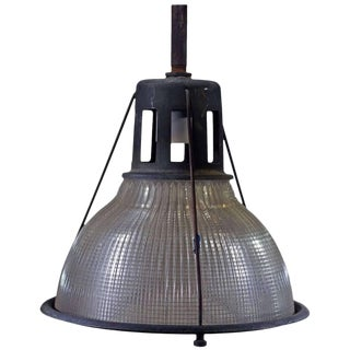 Industrial Ribbed Pendant Lamp by Holophane For Sale