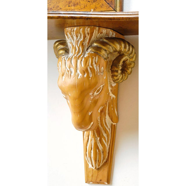 Carved and Gilt Ram's Head Mirror and Hanging Console - Image 4 of 9