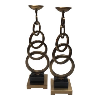 Modern Brass Candleholders- A Pair For Sale