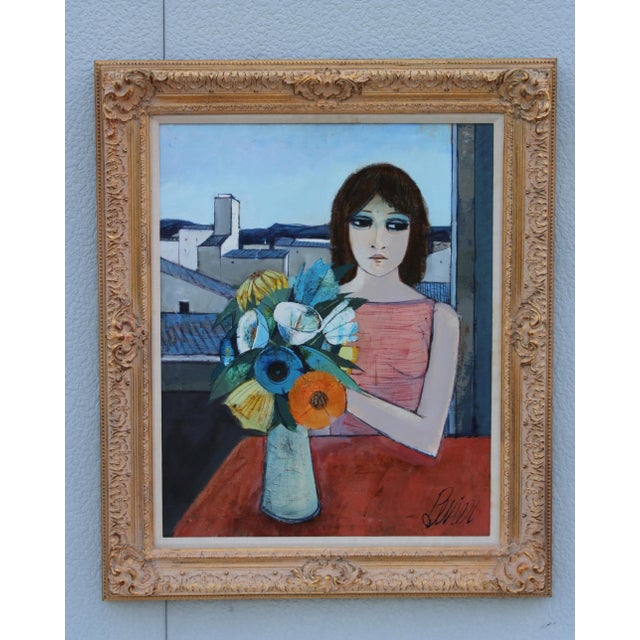 """1960s Oil on canvas artwork by French artist Charles Levier title """"Reverie"""" (1920-2003). Artwork measurements width 24''..."""
