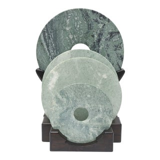 Collection of Jade Discs on Stands For Sale