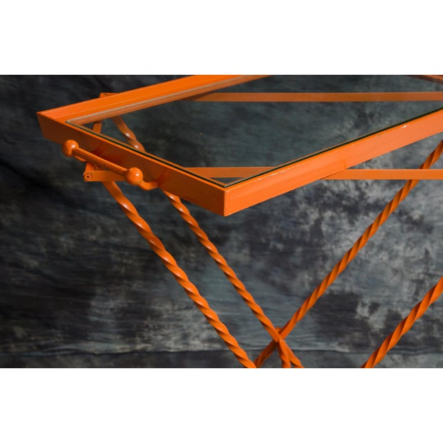 Gold 1960s Orange Butler's Tray Table For Sale - Image 8 of 9