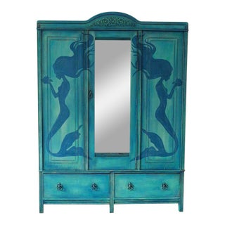 1920's Hand Painted Mermaid Armoire
