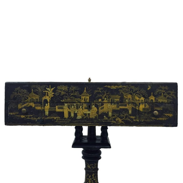19th century Napoleon III chinoiserie decorated games table with original game pieces. DATE OF MANUFACTURE: 1850s-1870s