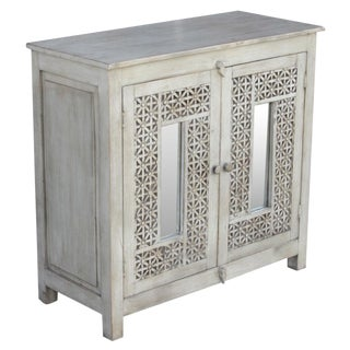 Carved White Lattice Cabinet For Sale