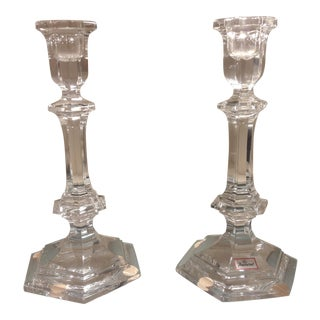 Baccarat Versailles Crystal Candle Holders Candlesticks - a Pair