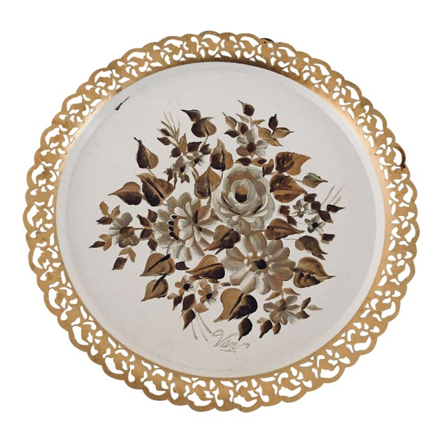 Vintage Hand Painted Floral Tole Tray For Sale