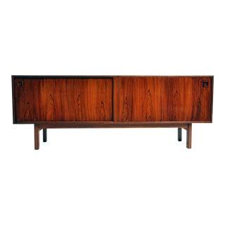 Swedish Mid-Century Modern Walnut Veneer Sideboard For Sale