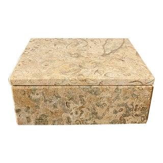 Vintage Fossil Marble Keepsake Box For Sale
