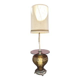 Hollywood Regency Amber Glass Floor Lamp With Glass Table For Sale